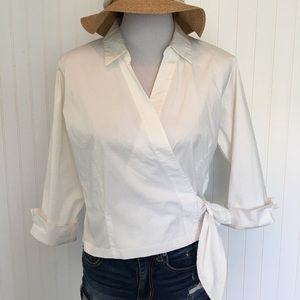 Coldwater Creek White Shirt crossed front